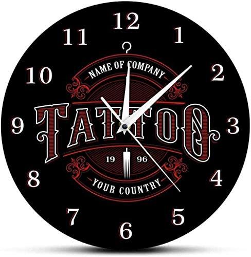 Reloj de pared Tiempo de tatuaje Reloj de pared personalizado Tienda de tintas Tatuaje Pistola de tatuaje Artista Regalo Tienda de arte corporal Estudio Logotipo de tatuaje Nombre de la empresa Reloj