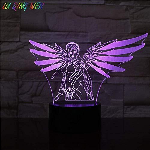 3D Illusionslampe LED Nachtlicht Spiel Overwatch Held Angela Ziegler Raumdekoration Kind Kind Kind Geschenk Low Mercy Tischlampe Schlafzimmer