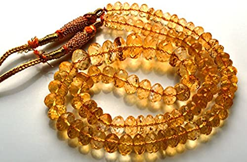 1 rang Natur 43,2  Super Rare AAA Golden Citrin facettiert Rondelles Form Perlen Halskette Größe 4,5 s 9