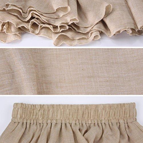 Evedaily Damen Rock Maxirock Sommerrock Langer Rock Baumwolle Leinen elastische Taillenbund One Size - 2