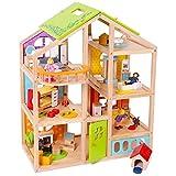 TikTakToo Puppenhaus aus Holz komplett mit Möbeln Biegepüppchen Familie Set - mit Hund und...