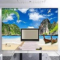 壁画青い空白い雲木製の橋ボートビーチ海景リビングルームの家の装飾ポスター壁の3D写真の壁紙-350x250cm