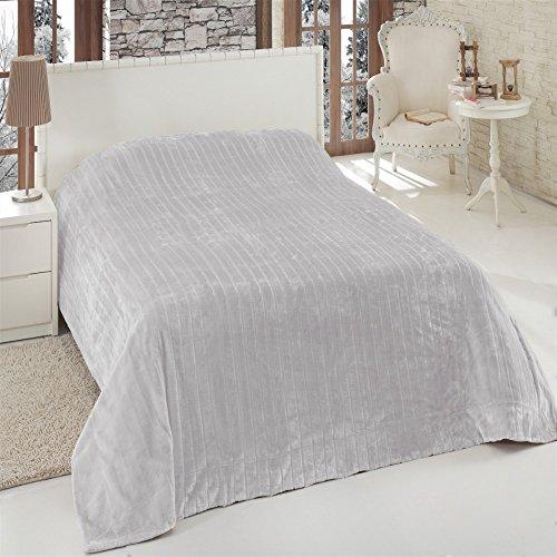 Felldecke Silber-grau braun Hochwertige Kuscheldecke Decke Wohndecke Nerzdecke nerzfelloptik Blanket, Farbe:Silbergrau