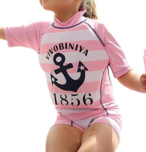 GWELL Kinder Float Suit Einteiler Bojen Badeanzug Auftrieb Schwimmanzug Bademode mit Schwimmhilfe für Jungen Mädchen Pink Anker XL