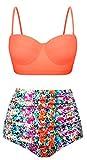 Angerella Femmes Retro Point de Polka avec La Taille Haute Maillot de Bain Bikini, Multicolore, EU46-48=Tag Size 4XL