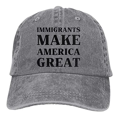 Jopath Immigrants Make America Great Hat,Gorra de béisbol ajustable lavable algodón camionero Cap Dad Hat