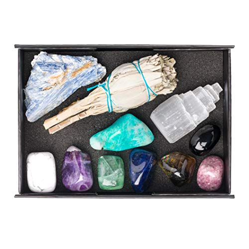 Genuine Crystals for Relaxation, Stress Relief, Anxiety, Sleep / 11 pc Calm Crystal Healing Set - Amethyst, Lepidolite, Fluorite, Smoky Quartz, Howlite, Sage & More + Informational Guide/Gift Ready
