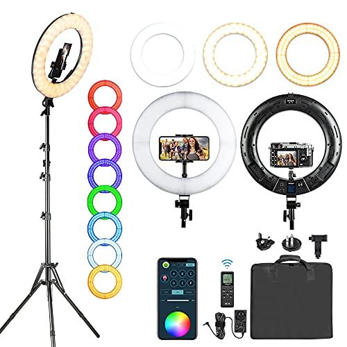 Weeylite LED Ringlicht 18 Zoll RGB mit Fernbedienung+APP Bluetooth, dimmbare Ringleuchte 2500K-8500K mit Stativ+Handyhalter für Selfie, Live, Make-up, Videoaufnahmen, Vlog, YouTube, Fotografie