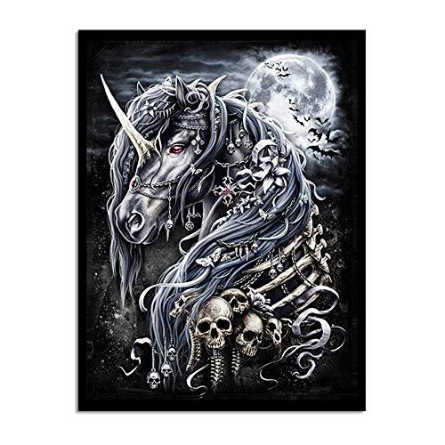 WADPJ schilderij wandkunst eenhoorn dier skelet paard wooncultuur canvasdruk poster jongens kamer poster foto-50x70cmx1 stuk geen lijst