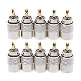 JZYLOVE JINZHIYANG 10 Piezas de UHF Conector PL-259 Male Soldadura RF Plugs Fit for RG8X Coaxial Cable coaxial (Package : 10 19Pcs)