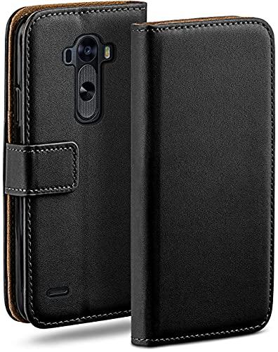 moex Klapphülle für LG G3 Hülle klappbar, Handyhülle mit Kartenfach, 360 Grad Schutzhülle zum klappen, Flip Hülle Book Cover, Vegan Leder Handytasche, Schwarz
