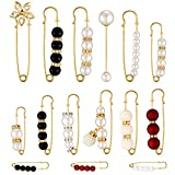 15 Pieces Heavy Duty Safety Pins Faux White Pearl Brooch Pins Dress Clip Sweater Shawl Pin Rhinestone Enamel Pins Hat Pins Decorative Cute Pins for Women Girls Dressing Decoration Cloth Accessories