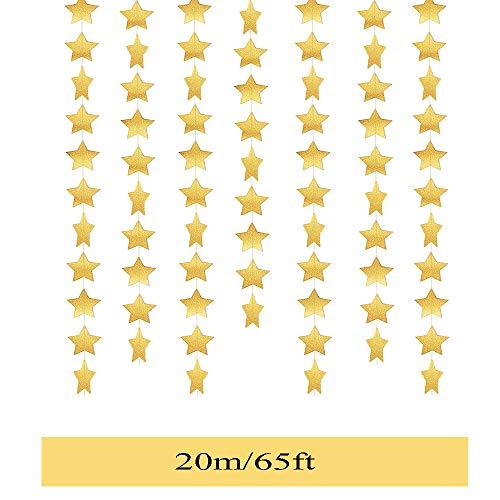 Her Kindness 20 Meter Goldener Fünfzackiger Stern Hängende Girlande Mini Girlande für Hochzeit Deko Party Kinderzimmer Geschenk Geburtstagsfeier Baby Dusche Event Party /4 m / 5 Packungen