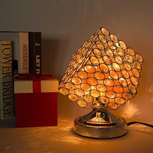 Maymii.Home Gold Rare Cube Cubic Design Crystal Table Desk Lamp Lamps Light with Himalayan Salt Chunks for Bedroom, Living Room Kitchen Nightlight Lights - UL Listed Switch and Bulb Include
