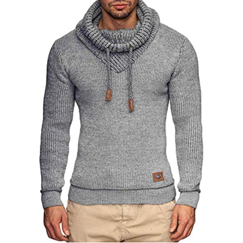 Herrenpullover, Winter Solid Color Fashion High Neck Pullover Kapuzenpullover, Street Fashion All-Match Casual und bequemer Pullover M