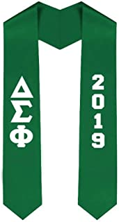 Custom Delta Sigma Phi Greek Lettered Graduation Sash Stole with Year