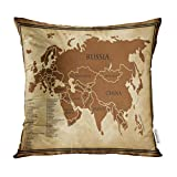 Emvency Decorative Throw Pillow Covers Map of Eurasia Old Afghanistan Asia Cartography Pillowcase Cushion Cover Case Protectors Sofa 18x18 Inches Double Sided
