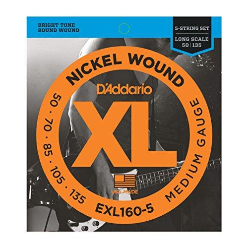 D'Addario EXL160-5 - Juego de cuerdas para bajo eléctrico de níquel.050 - .135
