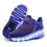 MLyzhe Unisex Niños LED Parpadea Zapatos con Ruedas, Carga USB Ajustable Rueda Automática Aire Libre Patines Deportes Zapatillas Niño Niña,Azul,36