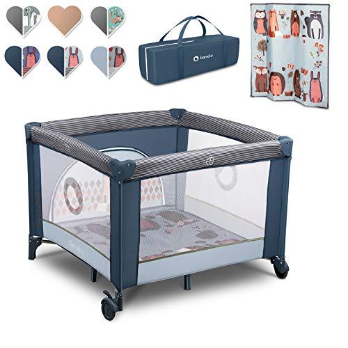 Lionelo Sofie Parque para bebés De viaje 100 x 100 x 76 cm Para niños de hasta 15 kg Perfecto en casa y de vacaciones Sistema de plegado seguro Bolsa incluida (Azul oscuro)