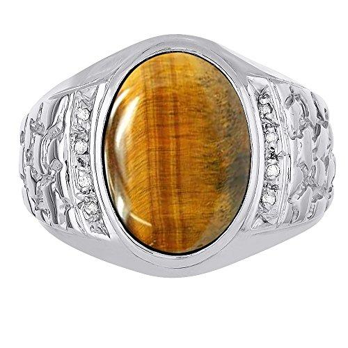 Anillo de diamante y ojo de tigre para hombre, amarillo de 14 quilates o oro blanco de 14 quilates