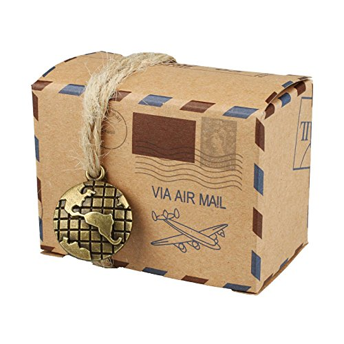 vLoveLife 50pcs Vintage Inspired Airmail Design Favor Boxes Bonbonniere With Globe Kraft Paper Candy Boxes Gift Box With Burlap Twines for wedding airplane inspired reception or travel themed events