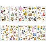 jky 30 Hojas de Pascua Tattoo Pegatinas de Pascua Tema Fiesta Proporciona decoración Conejo Huevo Tatuajes temporales Pascua Dibujos Animados Pegatinas para niños, 30pcs