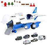 BAZOVE Car Toys Set with Transport Cargo Airplane, Mini Educational Vehicle Police Car Set for 3 4 5 6 Years Old Kids Toddlers Boys Child Gift, 6 Cars, Large Plane, 11 Road Signs
