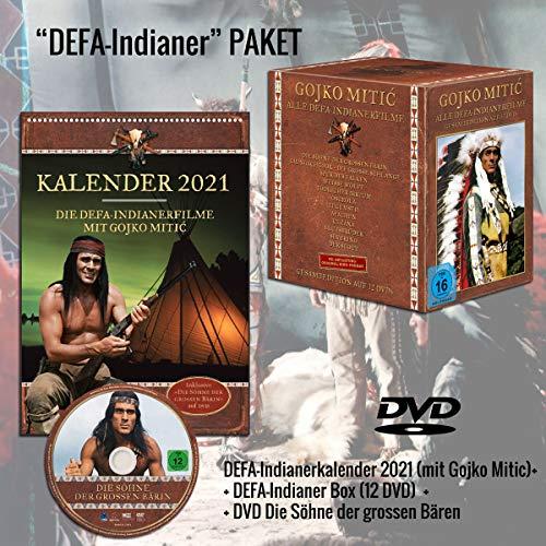 """Gojko Mitic - DEFA-Indianerfilme Gesamtedition auf 12 DVDs + Gojko Mitic Wandkalender 2021 DIN A4 (+ DVD """"Die Söhne der großen"""