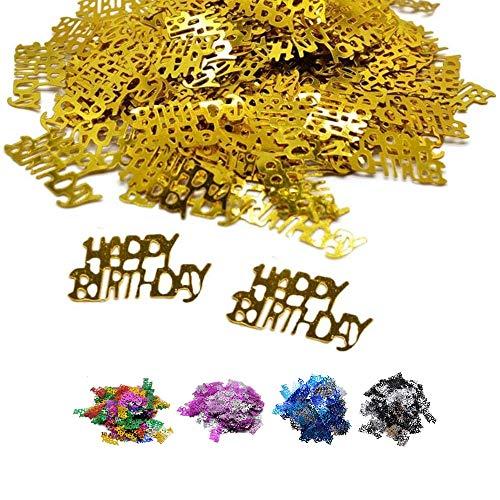 DIWULI, confettis Joyeux Anniversaire d'or, des confettis de Table d'anniversaire, décoration de Table, Paillettes, Anniversaire d'or déco Streudeko pour la fête d'anniversaire, soirée à thème,
