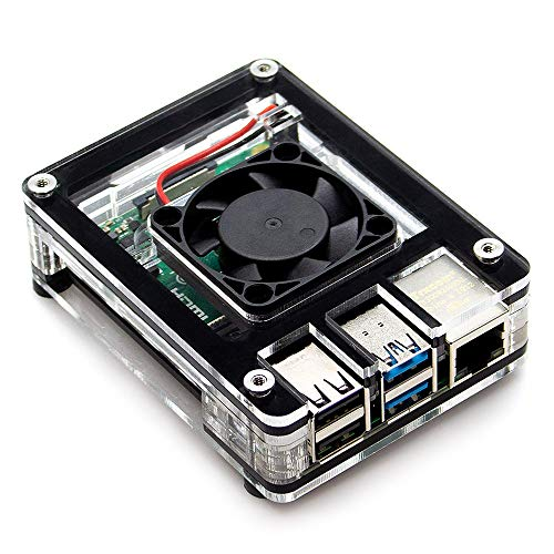 LANDZO Raspberry Pi 4 B Case, Acrylic Raspberry Pi 4 Model B Transparent Case with Raspberry Pi Fan Cooling for Raspberry Pi 4B-Easy to Access to All Parts