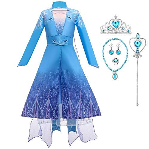 O.AMBW Disfraz de Princesa para niña Disfraz de Princesa Elsa Reina de Las Nieves 2 Mangas largas Vestido de Noche de 3 Piezas Fiesta de Navidad de Halloween Disfraz Bola Película Cosplay Disfraz