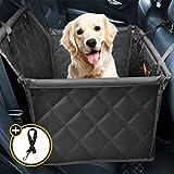 Looxmeer Funda Protector Asiento Coche Perro Impermeable, Cubre de Asiento Trasero de Coche para Mascotas Pequeñas para Viaje, Excursión, de Oxford 600D, con Cinturón de Seguridad, Negro