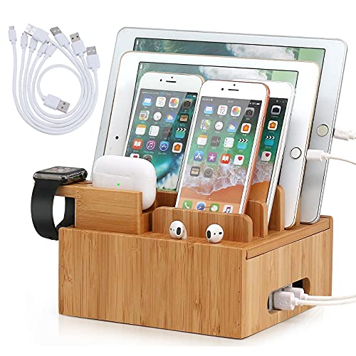 Pezin & Hulin Bamboo Charge Station Organizer for Multiple Devices, Desktop Docking Station Compatible with Smartphone,Tablet, Smart Watch & Earbuds (Included 5 Cables,NO Charger HUB)