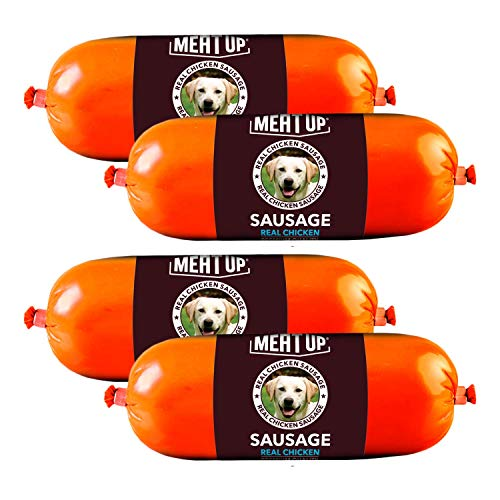 Meat Up Real Chicken Sausage, Dog Treat (Pack of 2), 150gm per Sausage ( BUY 1 GET 1 FREE)