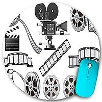KAPANOU ラウンドマウスパッド カスタムマウスパッド、映画館映画産業をテーマにした映写機のフィルムスレートとリールのグレースケールイラスト、PC ノートパソコン オフィス用 円形 デスクマット 、ズされたゲーミングマウスパッド 滑り止め 耐久性が 200mmx200mm