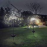 Luces de Jardín Solares Exterior,120 LED Solares Fuegos Artificiales Luces solares 40 hilos de cobre - Flores de bricolaje Árbolesde para la Patio Jardín, decoración de fiesta(blanco frío)