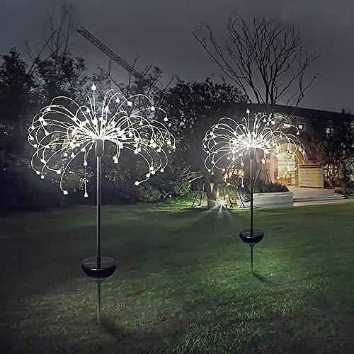 Solarleuchten Garten Deko, 2 Stück 120 LED Solar Feuerwerk Licht 40 Kupferdrähte Landschaftslicht DIY Draussen Blüht Gartenstecker für Patio Rasen Außen Balkon Weihnachtsfest-Dekor (Kaltes weißes)