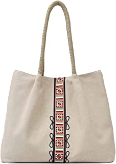 Trendy Lady Printed Canvas Bag Large Capacity Messenger Bag Casual Large Capacity Handbag Zgywmz (Color : Beige, Size : 40 * 12 * 31cm)