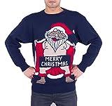 Hommes Adultes Nouveauté Nu Père Noël Joyeux Noël Pulls Chandail,Nu Santa Marine,L