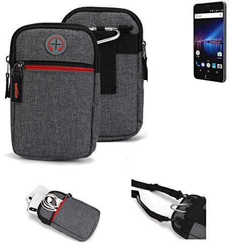 K-S-Trade® Gürtel-Tasche Für Phicomm Passion 4 Handy-Tasche Holster Schutz-hülle Grau Zusatzfächer 1x