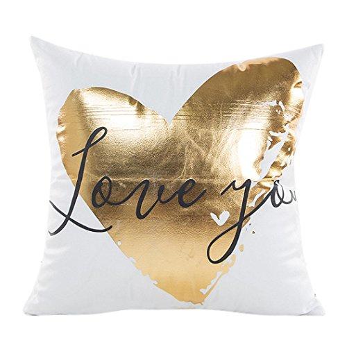 LuckyGirls Kissenbezug 45 x 45 cm Gold folie Druck kopfkissenbezüge Sofa Bett Auto Home Decor Festival Kissenhülle (G)