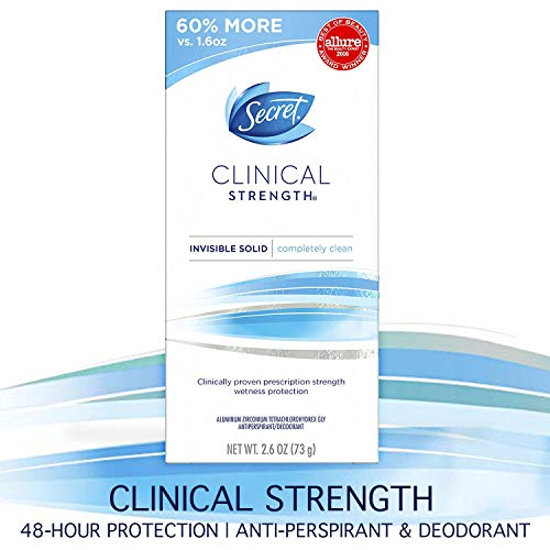 Secret Antiperspirant and Deodorant for Women, Clinical Strength Invisible Solid, Completely Clean, 2.6 Oz