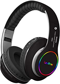 Bluetooth Headphones,Wireless/Wired Over Ear Headset,Hi-Fi Bass Stereo, Built-in Mic,LED Light Up,Foldable,Micro SD/TF, FM...