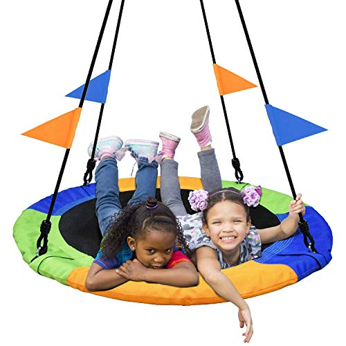 PACEARTH 40 Inch Saucer Tree Swing Flying 660lb Weight Capacity 2 Added Hanging Straps Adjustable...