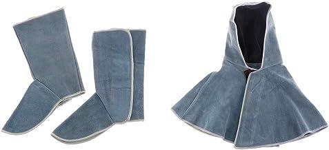 Capa de couro bovino para soldagem, proteção do pescoço e sapatos de proteção para roupas de soldador, azul