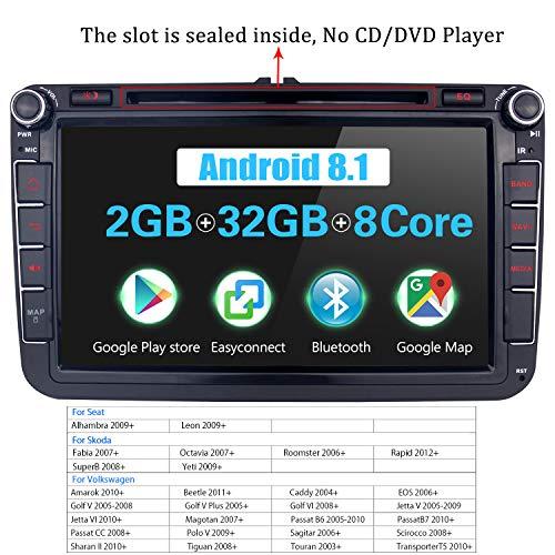 JOYFORWA 8 inch Android 8.1 2 GB RAM 32 GB ROM auto stereo navigatiesysteem met DSP/Easyconnect/Fast Boot/stuurwielbesturing voor Volkswagen/Skoda/Seat