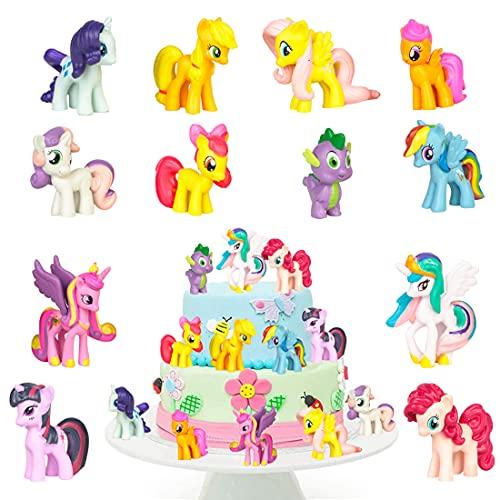 Tomicy Unicornio Adornos de tartas Unicornio Decoración de Tartas de Cumpleaños de Dibujos Animados Cake Topper para Cumpleaños Decoración de La Torta del Banquete de Boda 12 Piezas