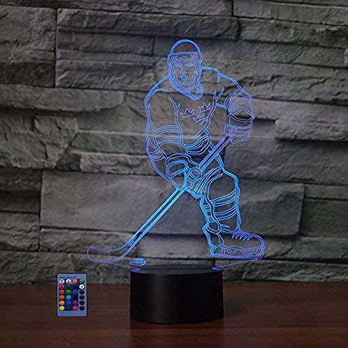 3D Eishockey Sport Illusions LED Lampen Fernbedienung USB Power 7/16 Farben 3D LED Lampe Formen Kinder Schlafzimmer Geburtstag Weihnachten Geschenke