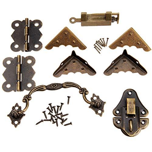 SCSY SSB-JIAJUPJ, 9pcs / Set Hardware de los Muebles de latón de China Hardware de Madera Antigua de la Caja del Cerrojo de pestillo + Tirador + Bisagras + Protector de la Esquina Old Lock +